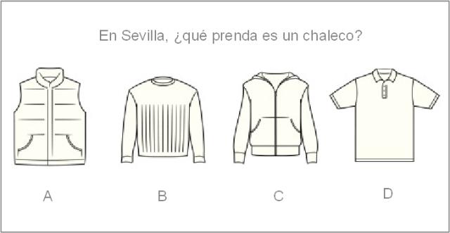 ¿Qué letra correspondería al chaleco según alguien de Sevilla? ¿Y si no es de allí?